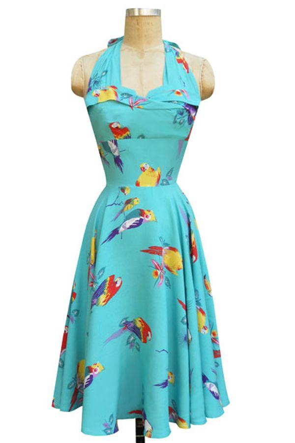 31d303ae0af Trixie 1950s Halter Dress Tropical Birds