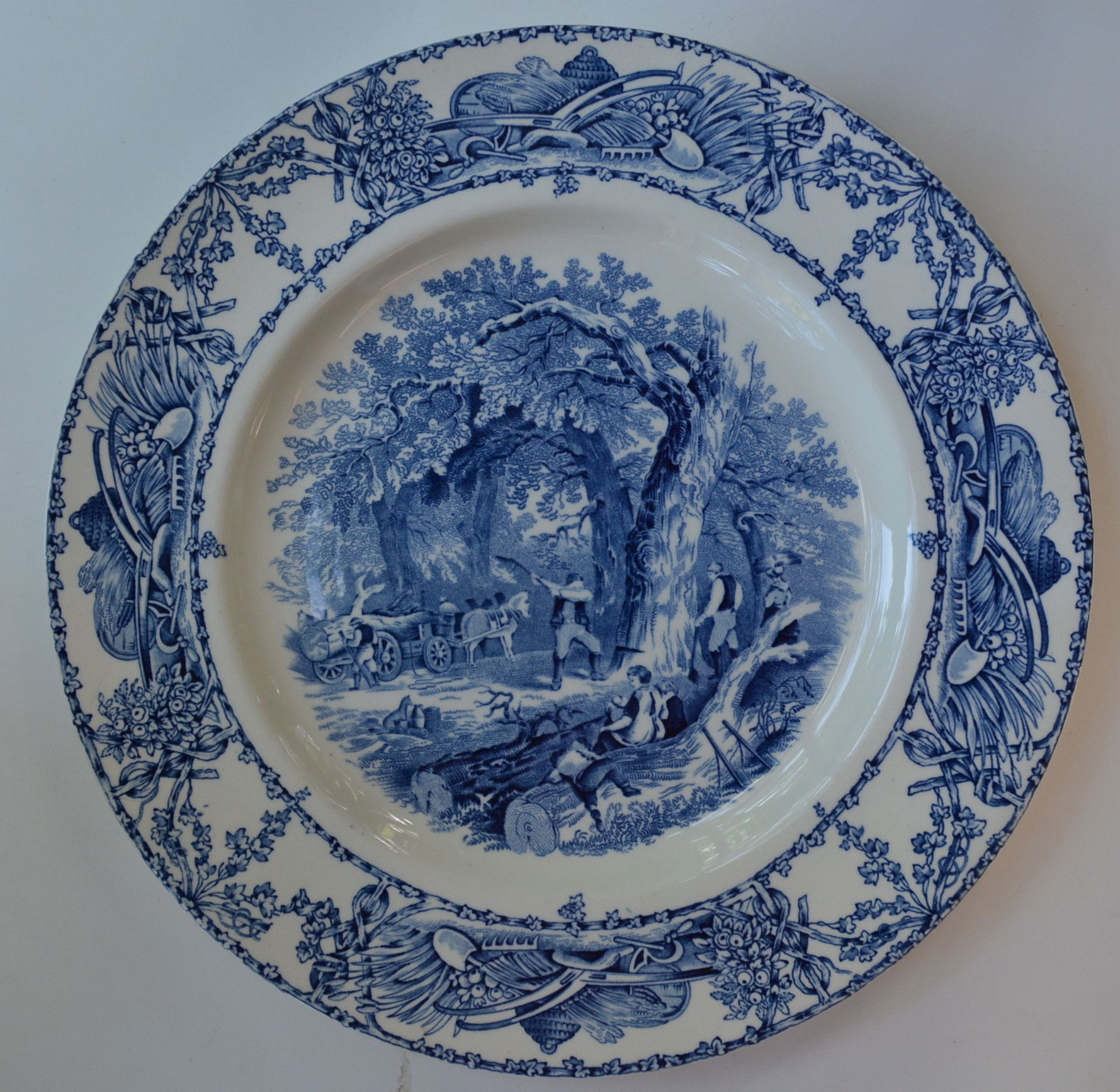 Blue Toile Rural Scenes Transferware Dinner Plate English Country Mother Children Dog Woodcutter & Blue Toile Rural Scenes Transferware Dinner Plate English Country ...