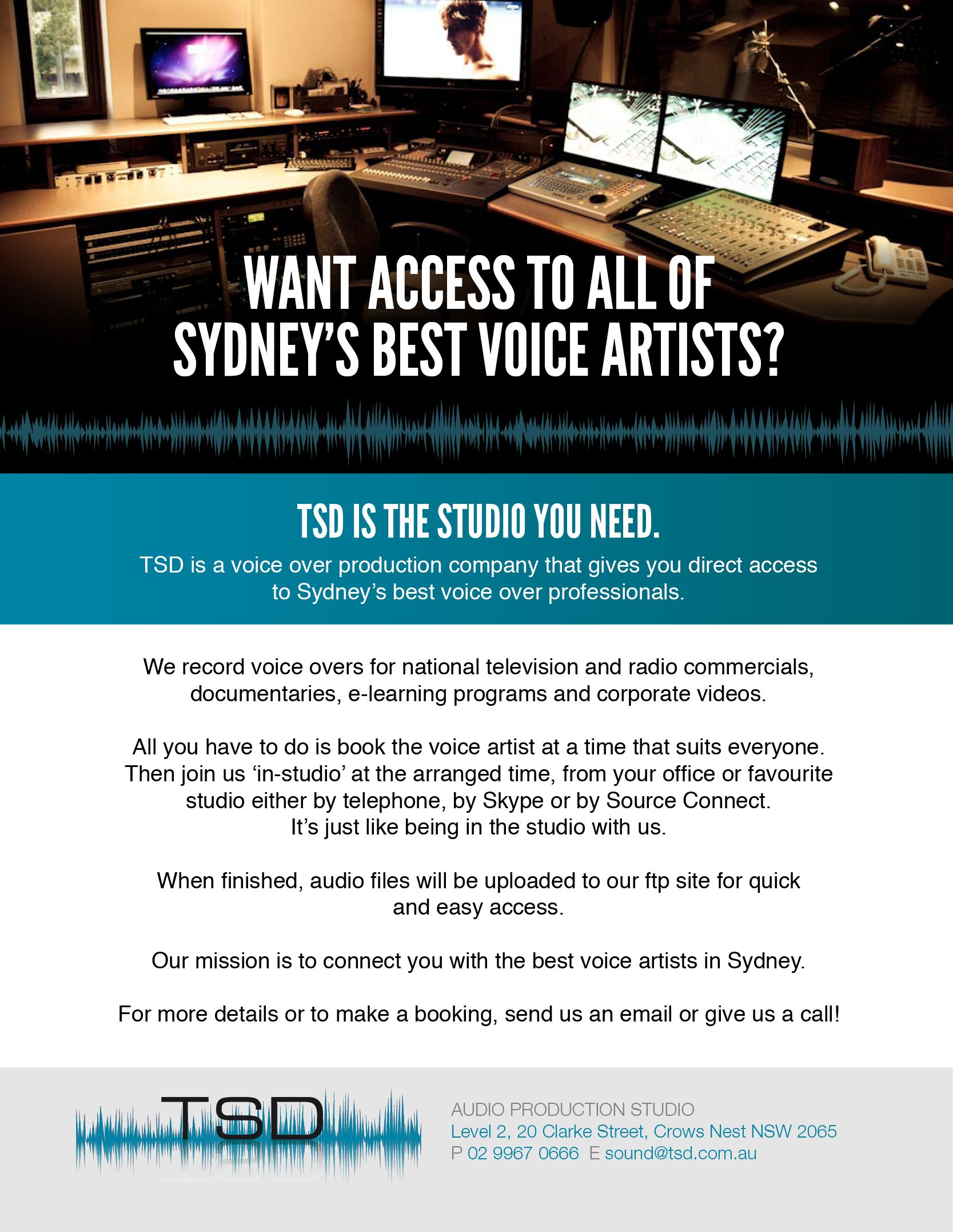 TSD Audio Production Studio. Giving you access to Sydney