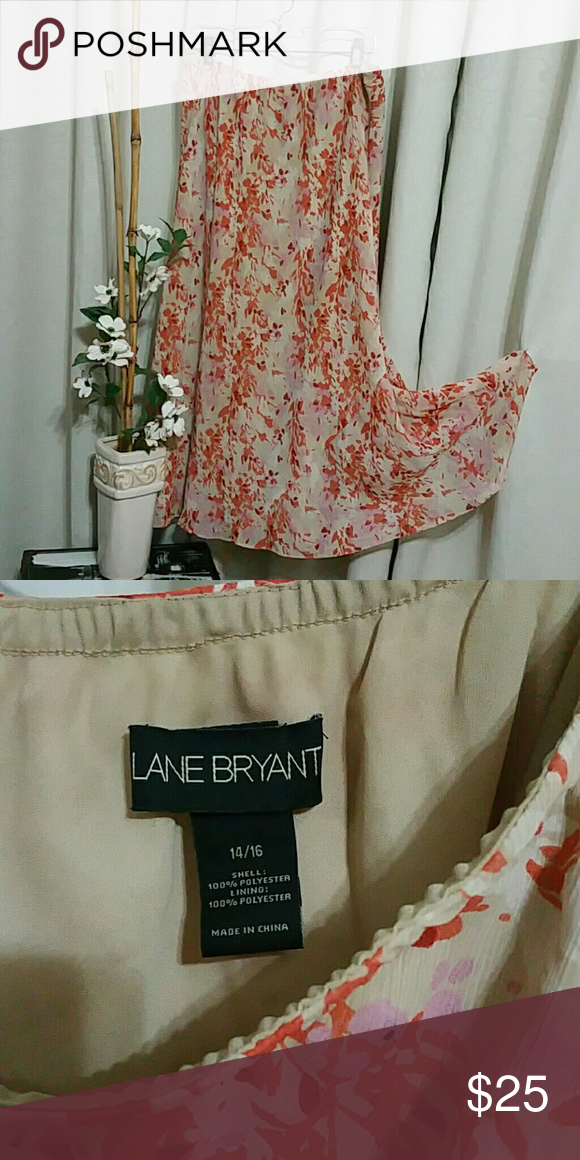 Floral skirt Beige, burnt orange, mauve  floral maxi skirt. Lane Bryant.  Sheer fabric,  fully lined.  Length waist to hem is 36 inches. Full to swish around in. Gently worn 3 times. Lane Bryant Skirts Maxi