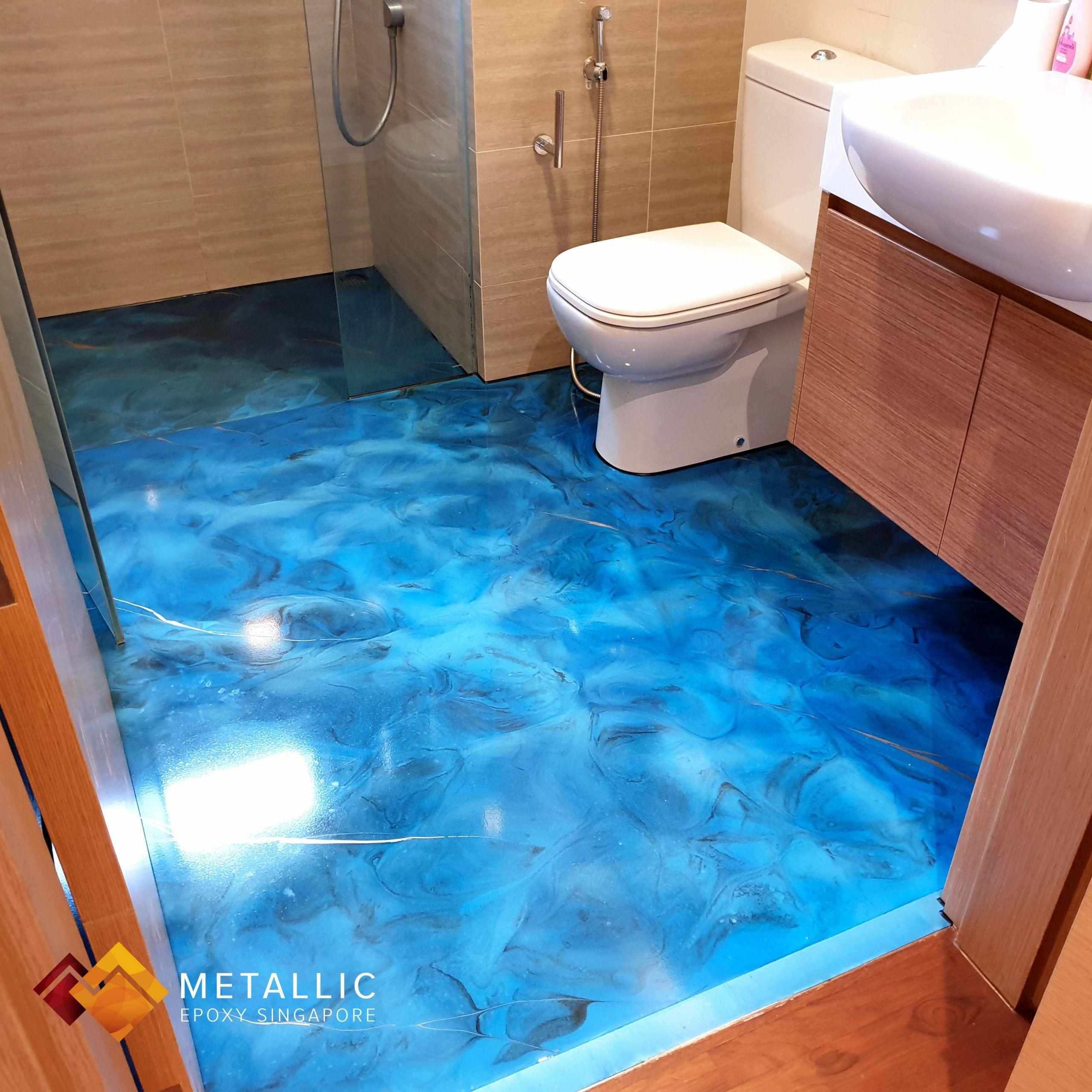 Metallic Epoxy Singapore Gold Black Highlights On Sky Blue Bathroom Floor Bathro In 2020 Badezimmerboden Schwarze Highlights Blau