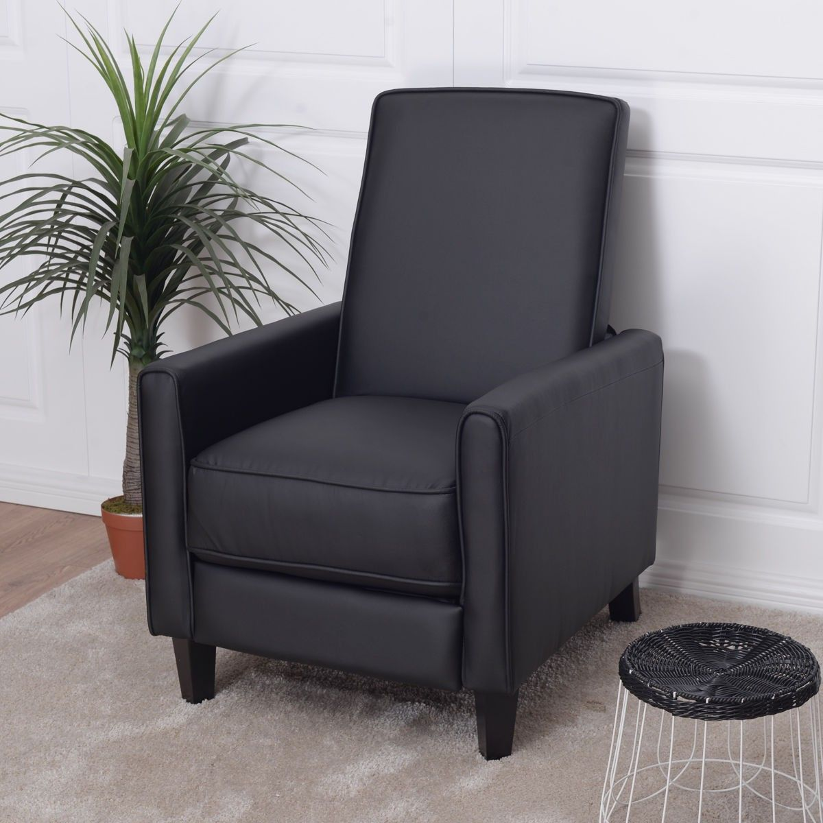 Single Recliner PU Leather Sofa with Foot Extension