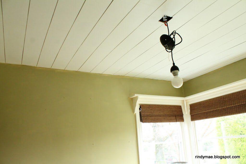 Diy plank ceilings board batten wainscotting trim for Wood trim ceiling ideas