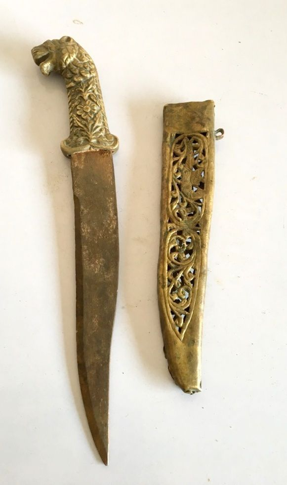 Vintage Old Brass Lion Handle Steel Blade Dagger Jamia