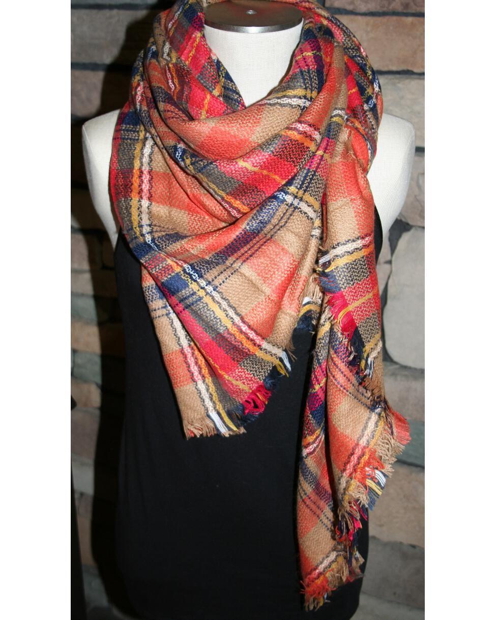 "100% Soft Acrylic Fall Orange Plaid Blanket Scarf.  Approx 55"" x 55"", super soft with cashmere feel."