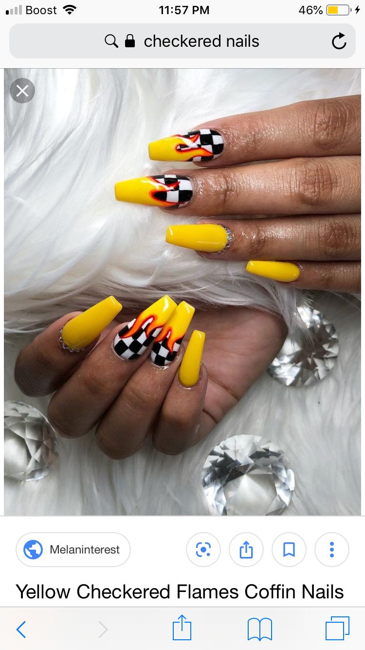 Yellow Checkered Flame Nails Checkered Nails Acrylic Nail Shapes Best Acrylic Nails