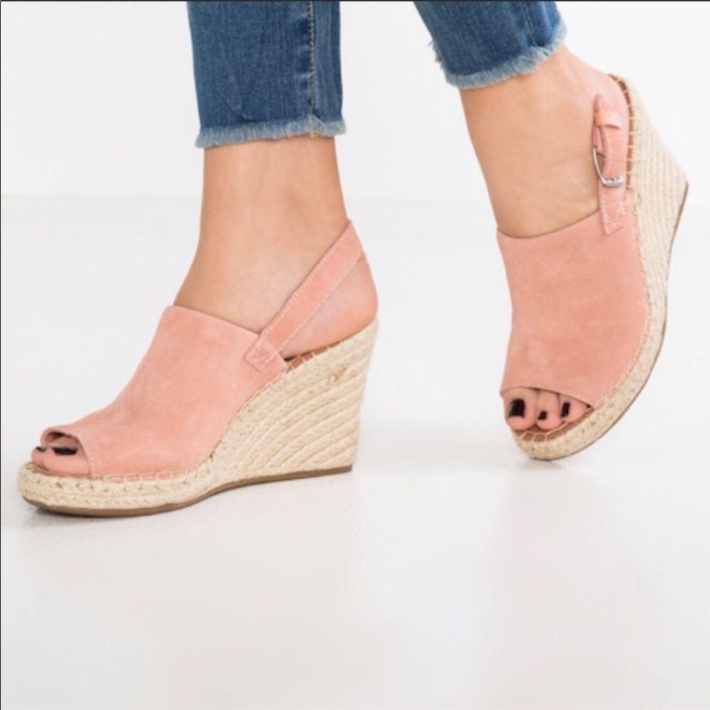 ecf1204ce76 Toms Shoes | Toms Monica Pink Suede Wedge Sling Back Sandals | Color ...