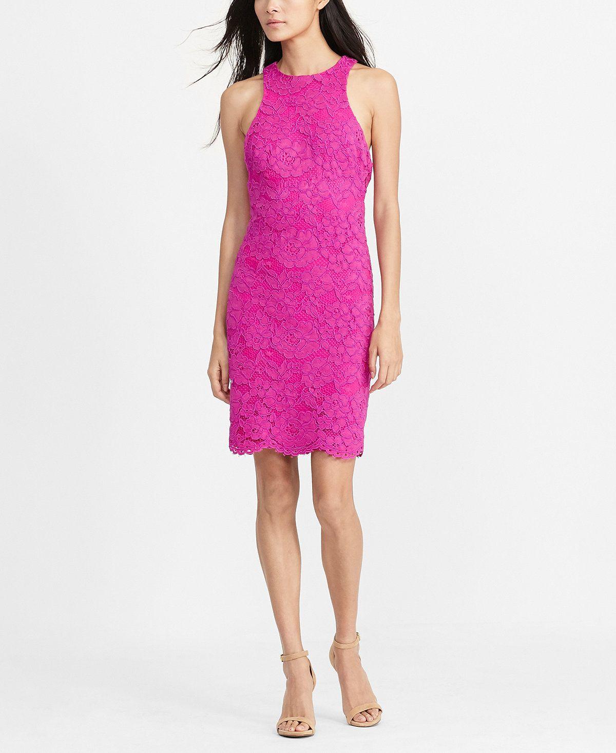 Lauren Ralph Lauren Floral-Lace Dress - Dresses - Women - Macy\'s ...