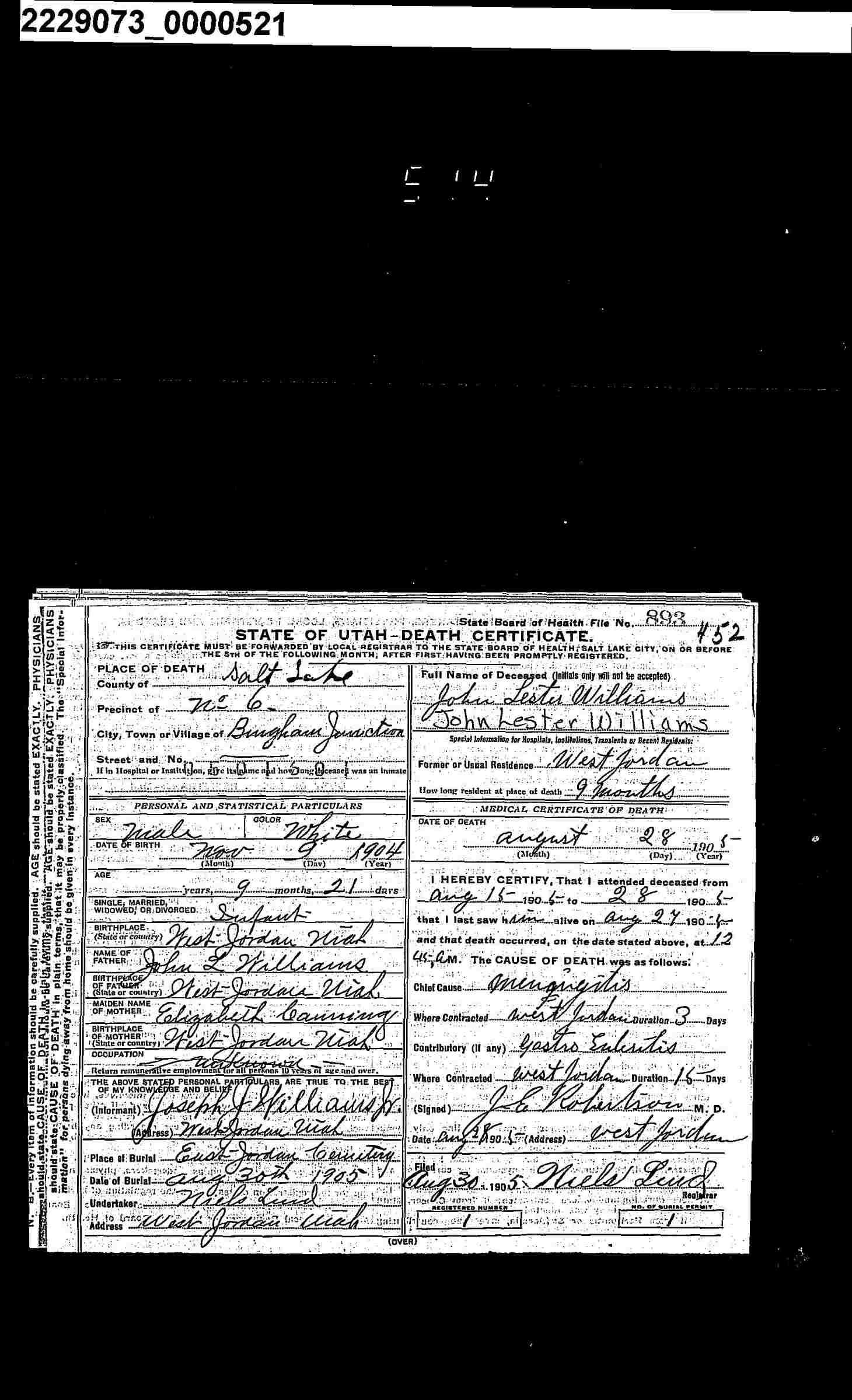Elizabeth canning in entry for john lester williams utah death elizabeth canning in entry for john lester williams utah death certificates 1904 1betcityfo Choice Image