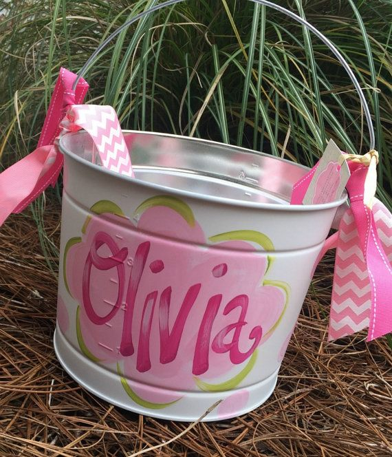 Easter bucket personalized hand painted tin pail by ladeedahart easter bucket personalized hand painted tin pail by ladeedahart negle Choice Image