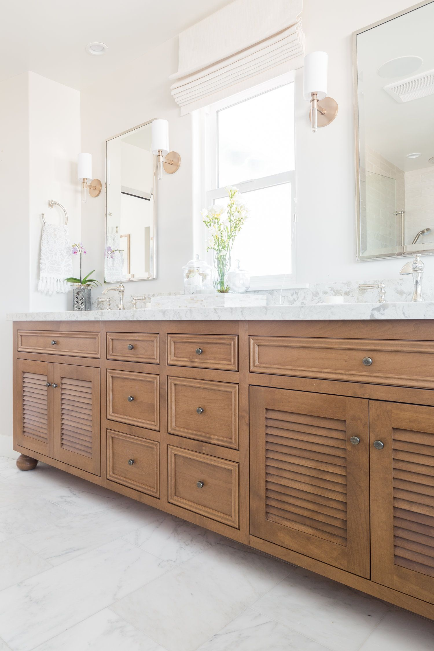 Master Bath Cabinet in Alder with Louvered Doors —