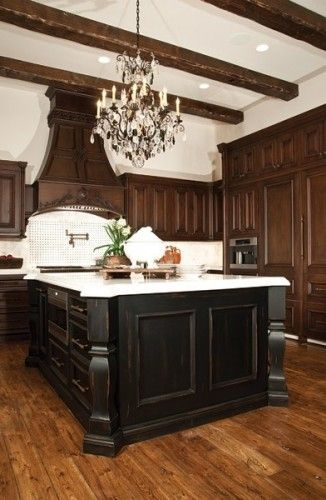 Black Island Would Look Awesome With My Cherry Cabinets Kitchen