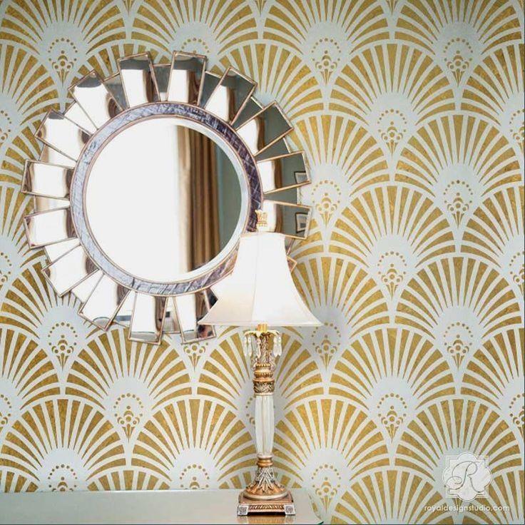 Old Hollywood Glam Wall Decor Gatsby Art Deco Stencils Royal