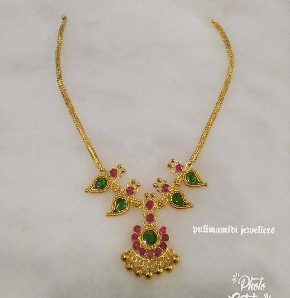 Simple Necklace With Small Flower Design Pendant Necklace Studded