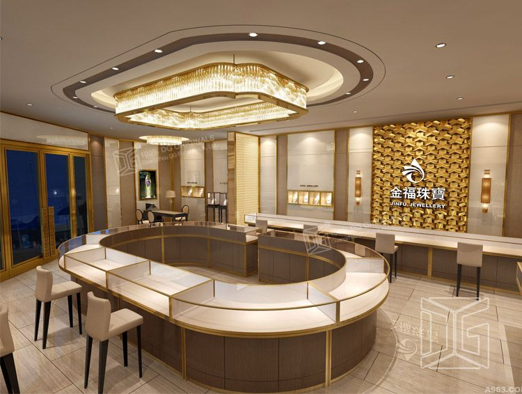 Luxury Golden Jewelry Store Interior Design  Store design in 2019  Jewelry store design
