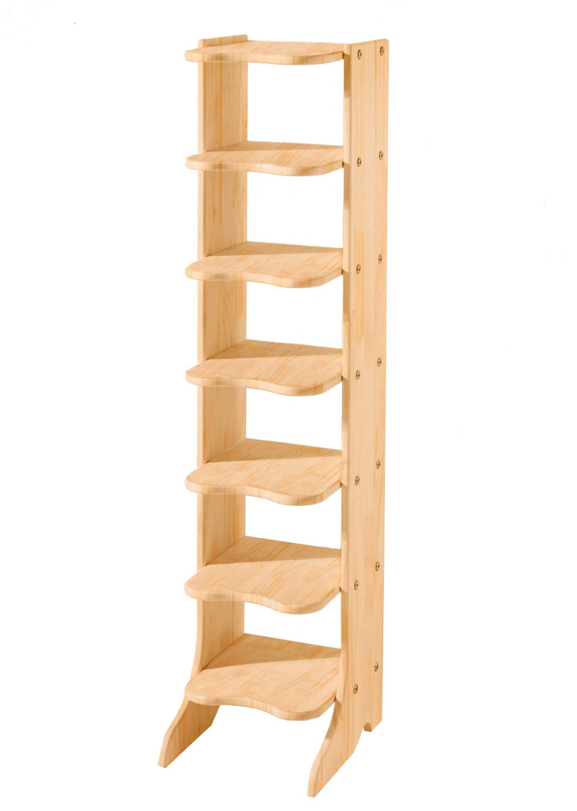 Voir:Étagère en bois massif avec jolies tablettes de forme ondulée. Disponible en 3 tailles au choix. Notice de montage fournie.