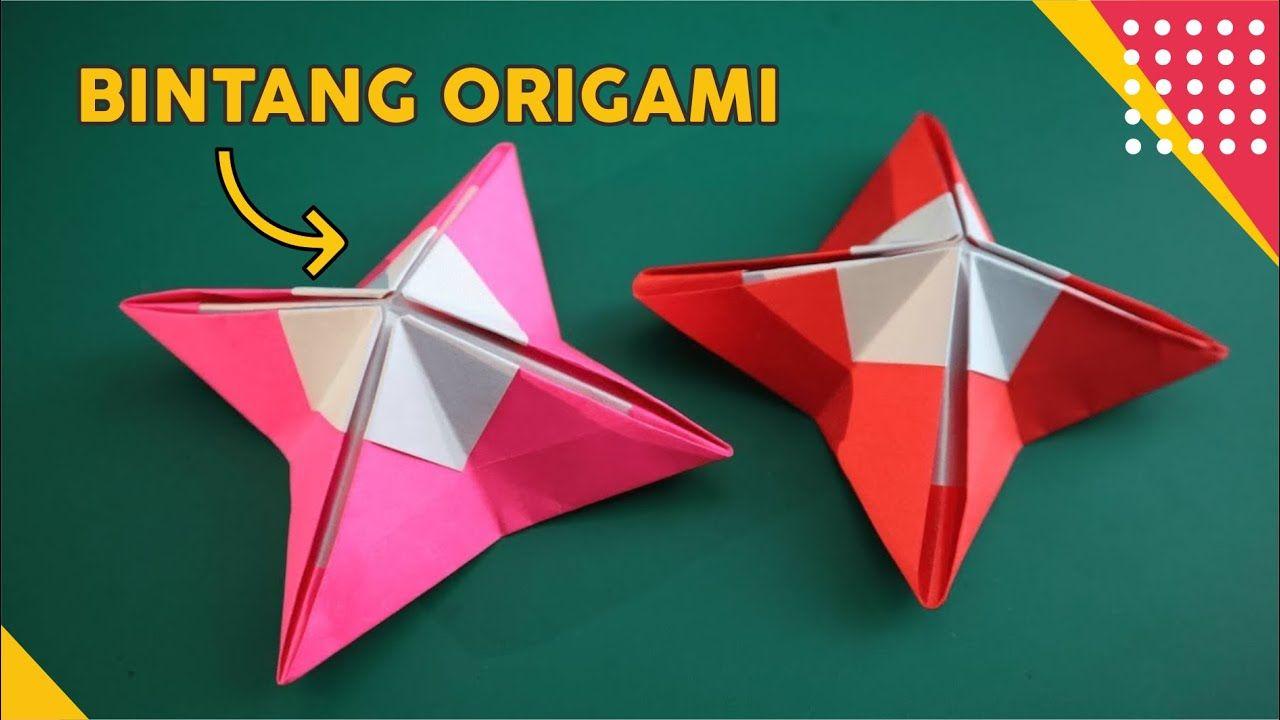 Cara Membuat Bintang Origami Unik Kaki Empat How To Fold Star Paper Ea Bintang Origami Origami Bintang