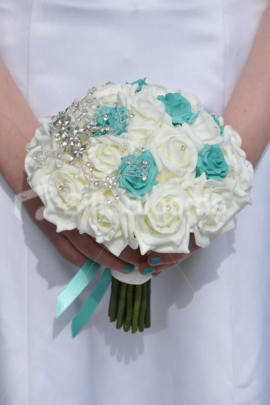 Beautiful Turquoise And Ivory Silk Rose Brooch Bridal Wedding Bouquet