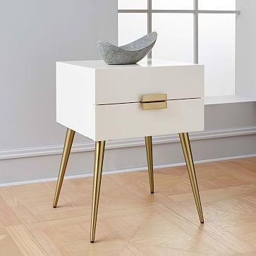 299 Dimensions 20 W X 16 D X 24 H Hayworth Nightstand White Lacquer Wood Bedroom Furniture White Nightstand Furniture