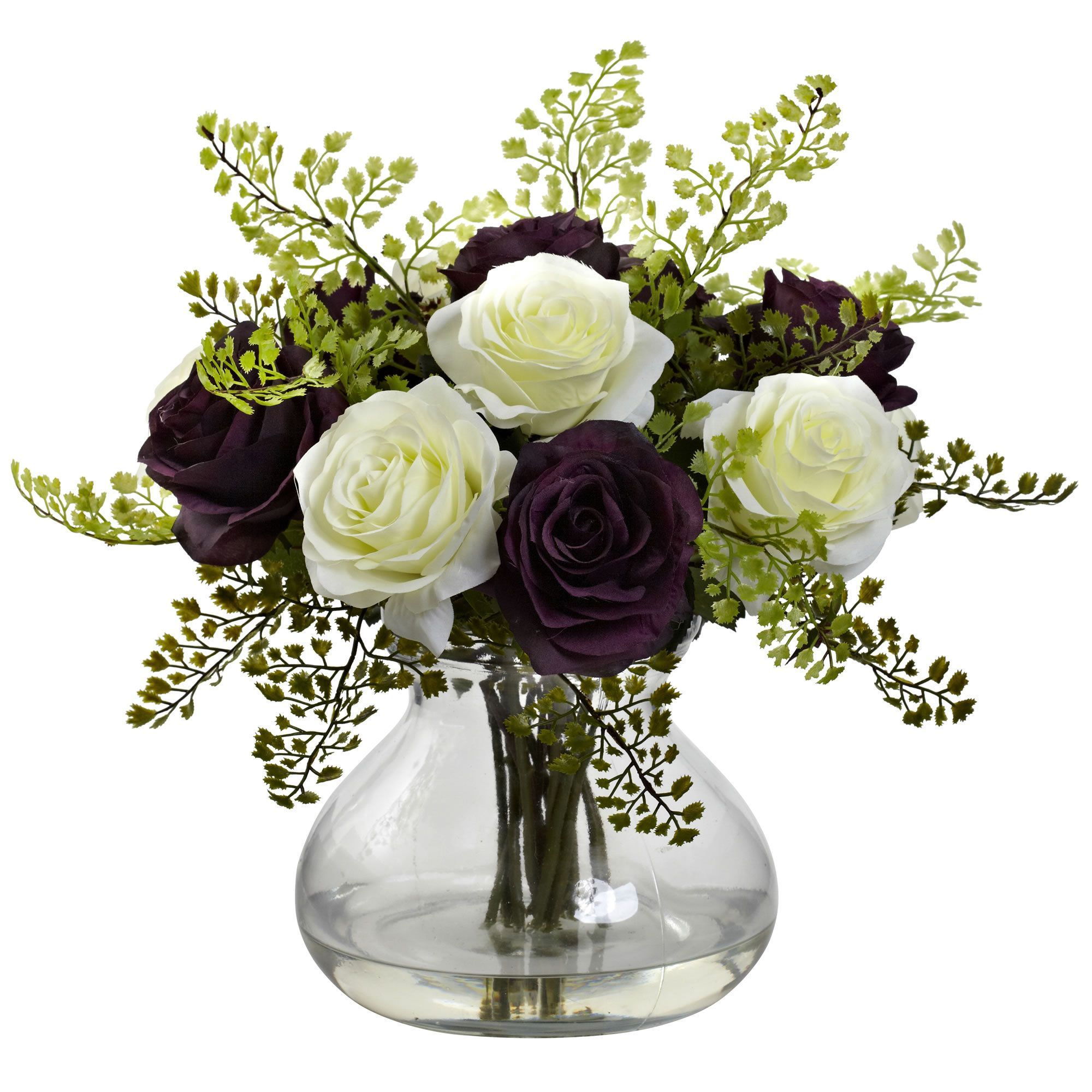 Nearly Natural Rose And Maiden Hair Arrangement With Vase Light