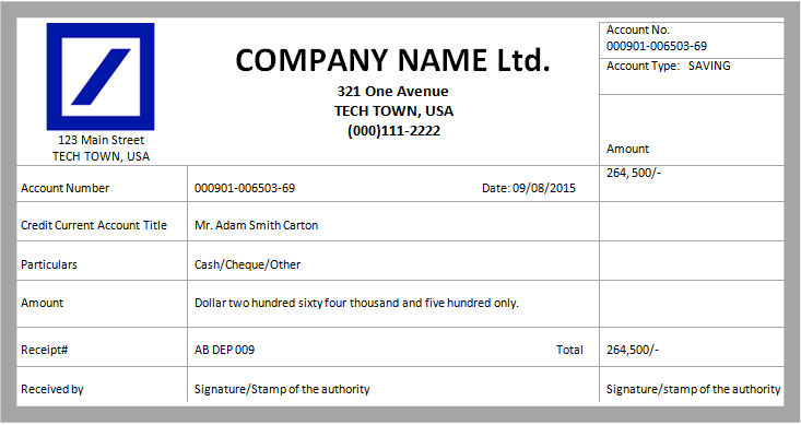 Deposit Invoice Template For Free MS Word Cash Deposit Receipt Template  Company Receipt Template