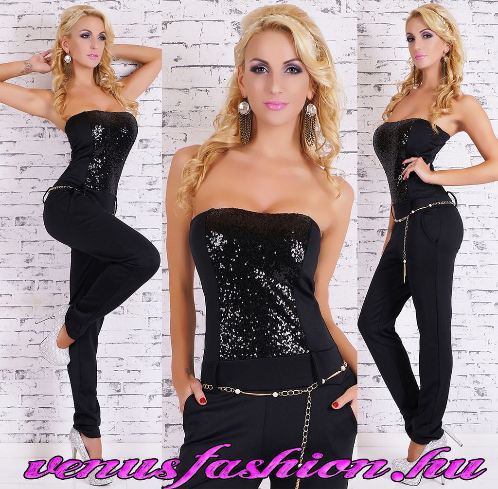 a03f50871f Exkluzív fekete női ujjatlan overál láncos övvel - Venus fashion női ruha  webáruház