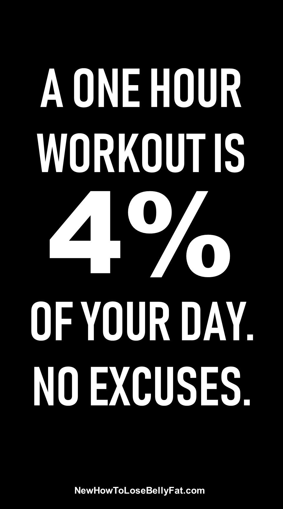 81df60ddf A one hour workout is 4% of your day. No excuses. | Posted By:  CustomWeightLossProgram.com