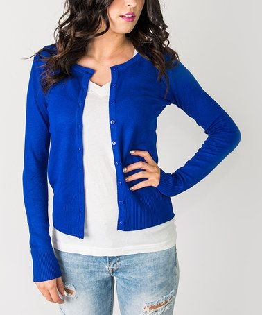 Look at this #zulilyfind! Royal Blue Button-Up Cardigan - Women ...