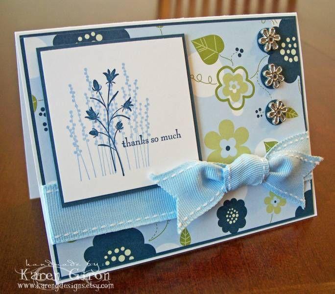 maine blueberry flowers   cards handmade card