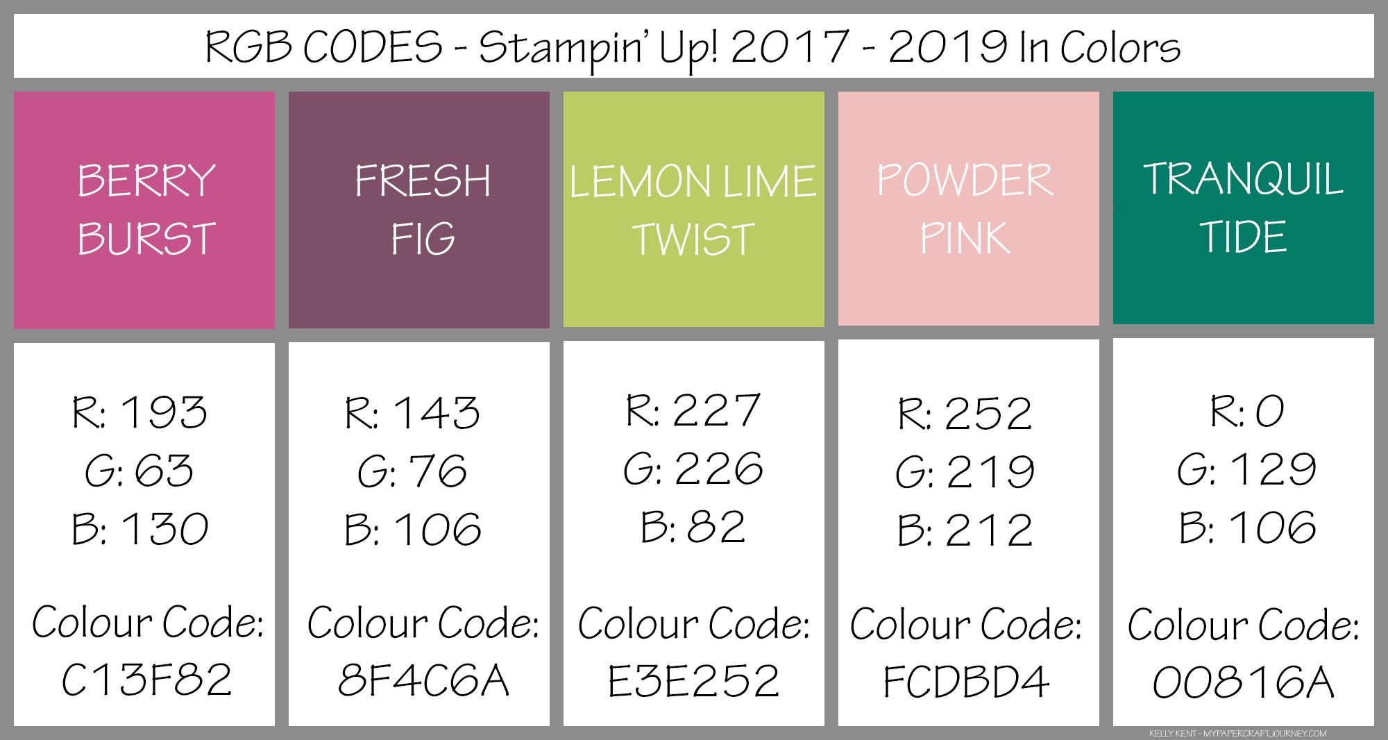 Tranquil Colors Rgb Codes For 20172019 In Colors  Kelly Kent Mypapercraftjourney