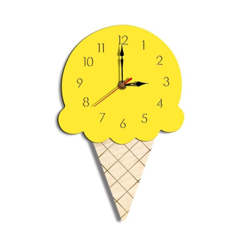 Creative Cartoon Home Clock For Children With Acrylic Ice Cream In Living Room No Batteries Childrens Clock Wall Clock Wall Clocks Living Room