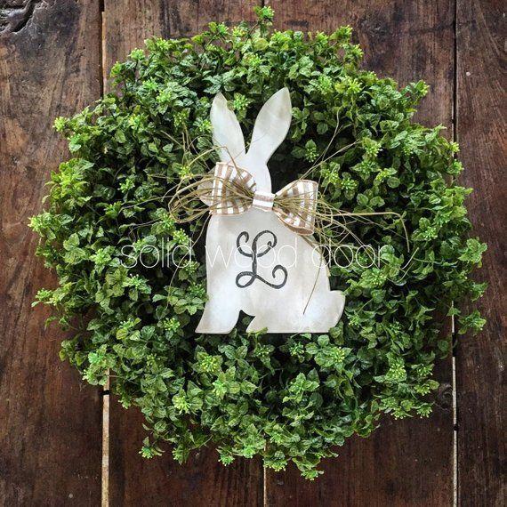 Photo of Spring imitation boxwood wreath, Easter boxwood burlap wreath 22 inches, boxwood wreath …