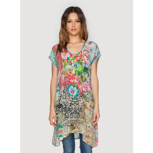 Milla Long Tunic The Johnny Was MILLA LONG TUNIC features a unique digital patchwork print that combines bold florals with intricate geometric elements. With a relaxed silhouette, this printed tunic can be worn as a top or a mini dress. Try the vibrant MILLA LONG TUNIC with sandals and a jean jacket for weekend brunch!  - Printed Rayon Georgette - Scoop Neckline, Short Sleeves - Signature Digital Print - Care Instructions: Machine Wash Cold, Tumble Dry Low