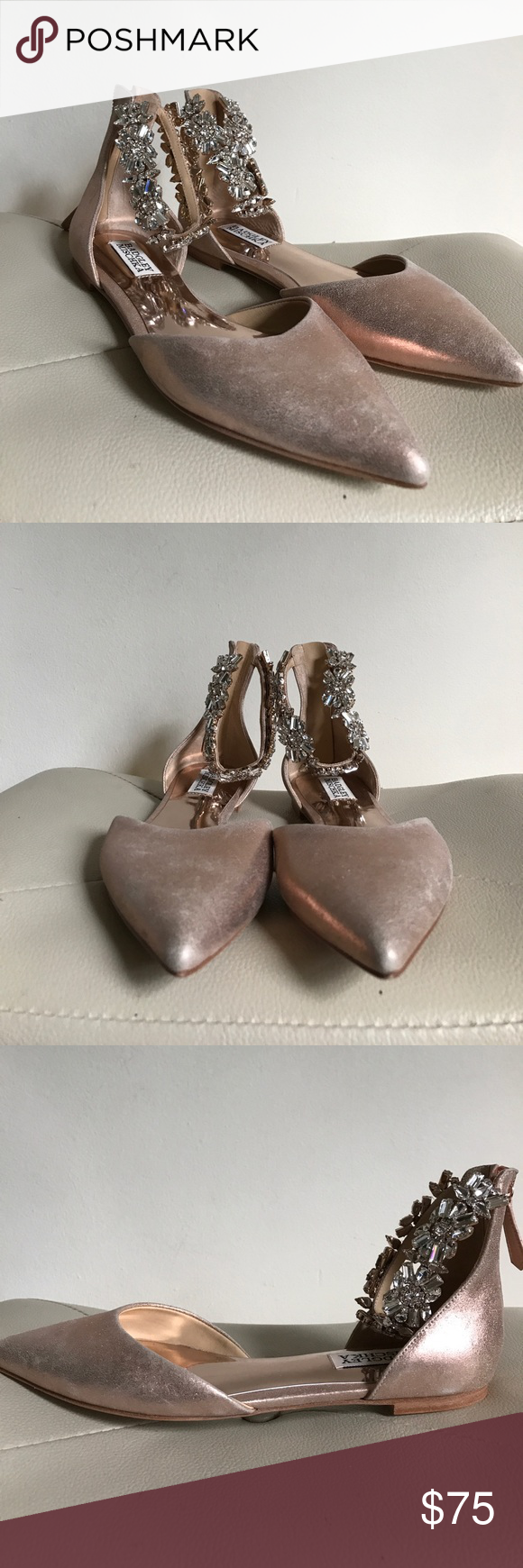 Badgley Mischka Morgen Satin Jewel Ankle Detail Flats wYjaQd
