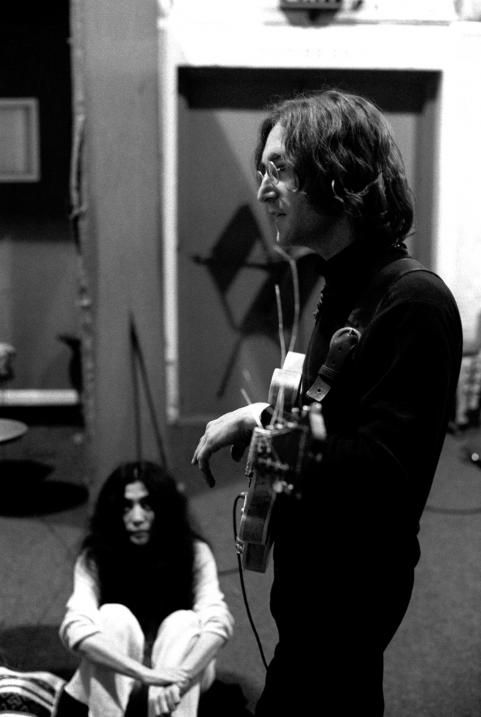 John & Yoko at a recording session for the album \