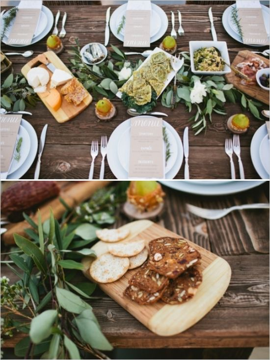 appetizer platters on the table #tablescape #greenery #weddingchicks http://www.weddingchicks.com/2014/03/28/organic-rooftop-sunset-wedding/