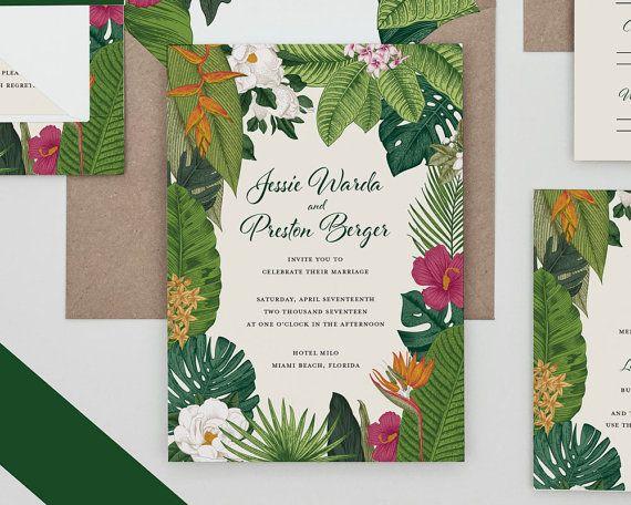 Tropical destination wedding invitation beach wedding for Tropical wedding invitations