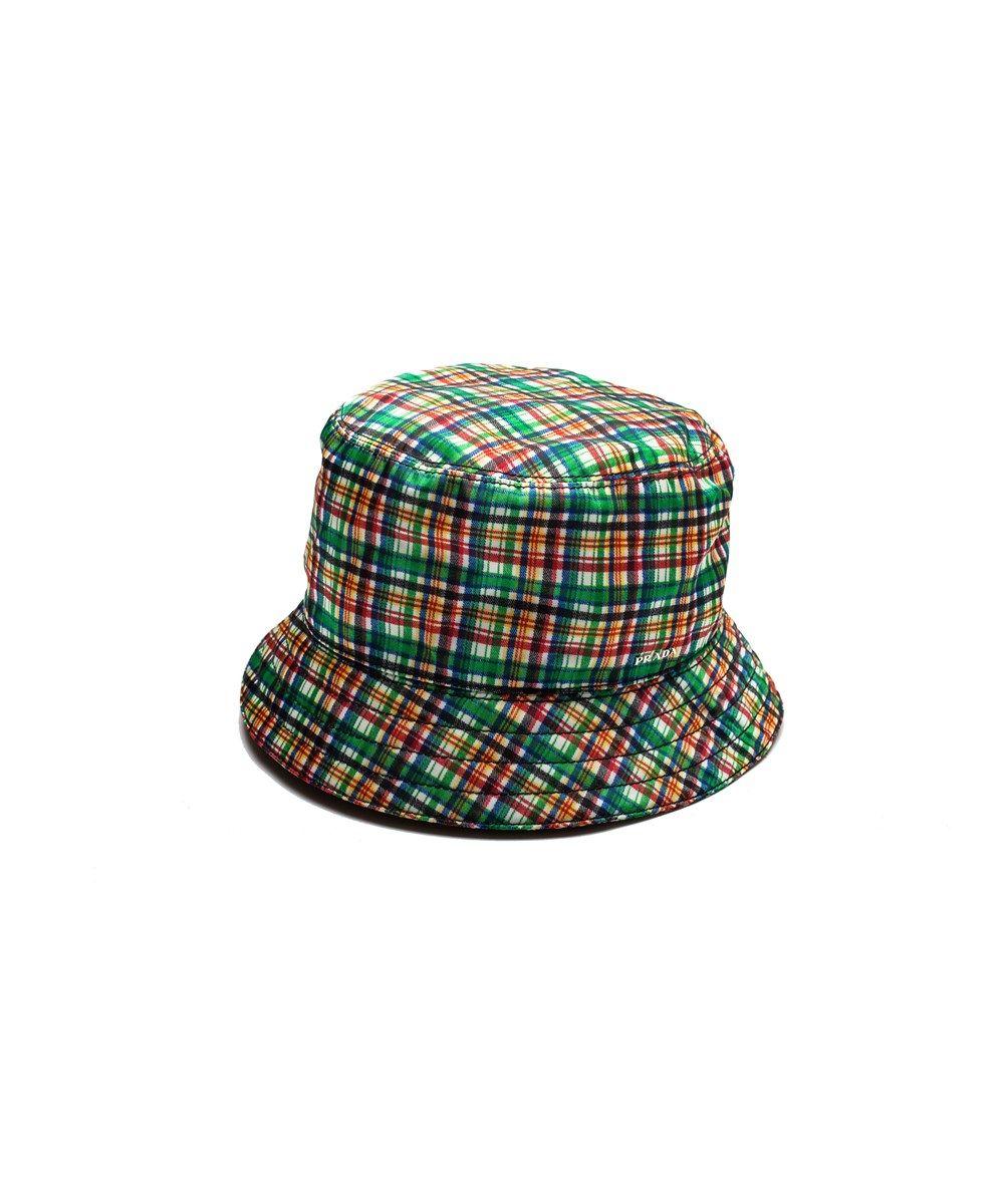 PRADA Prada Men S Nylon Plaid Bucket Hat Green .  prada  hats ... a803c6d5291