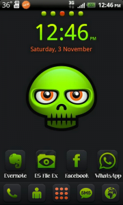 Darkness Theme for Go Launcher EX Green Face For Android Theme