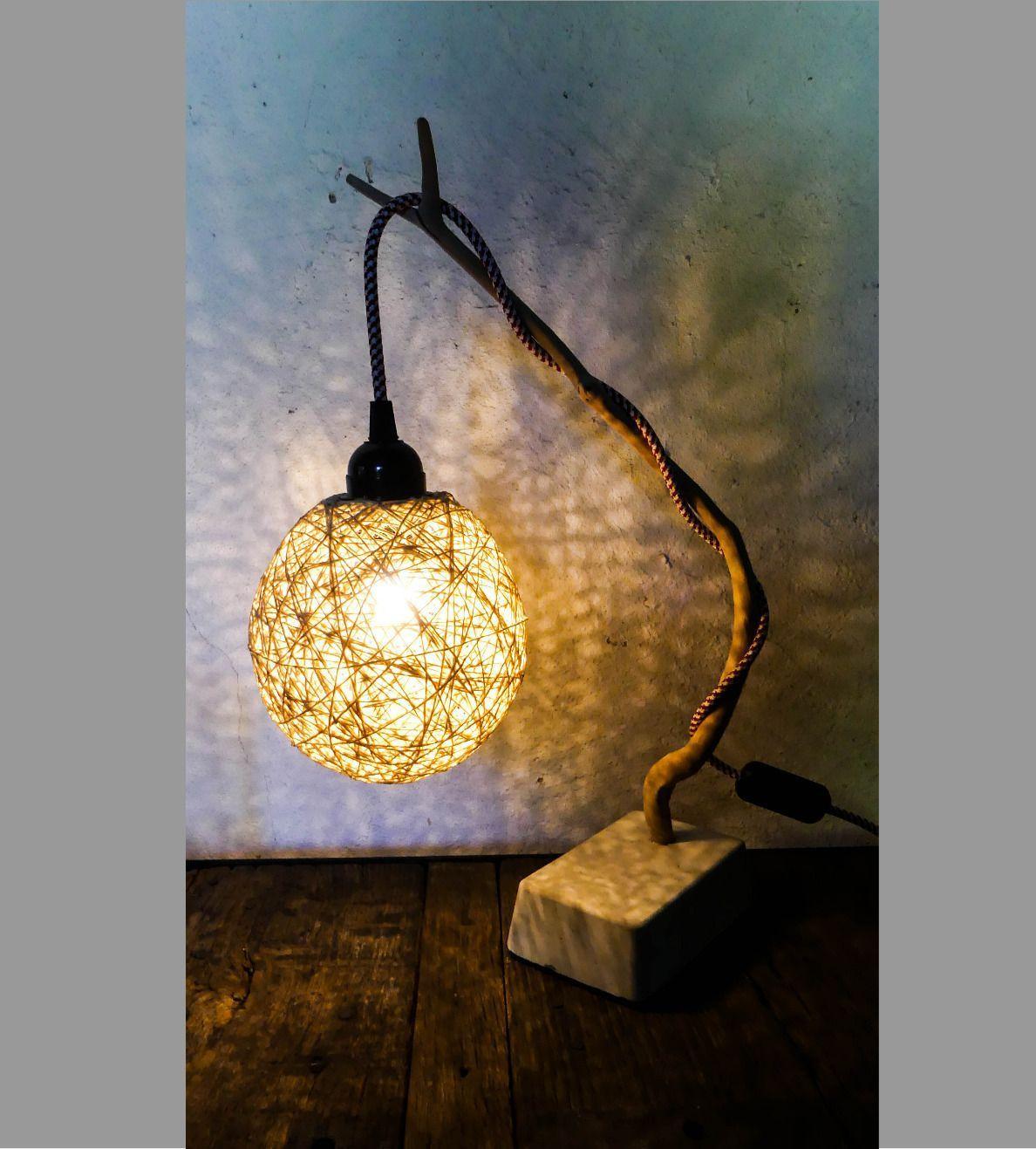 Lampe bois flotté coton et béton ampoule LED Luminaires par pimp