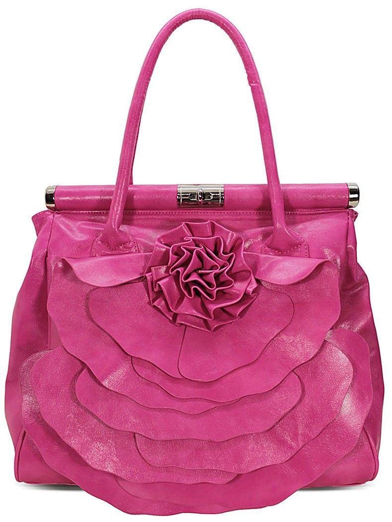 Pink Ruffled Front Rose Flower Frame Handbag Purses Pinterest