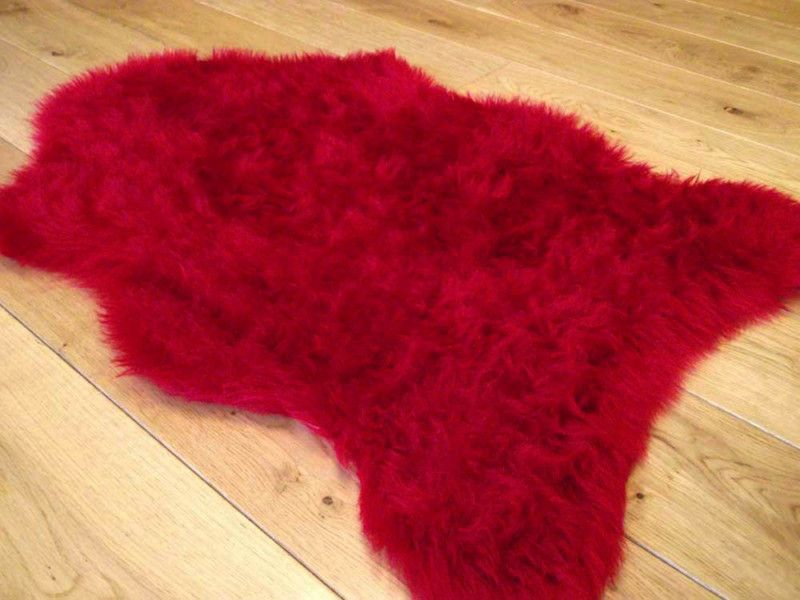 Details About Ruby Red Rugs Fluffy Bedroom Rug Faux Fake