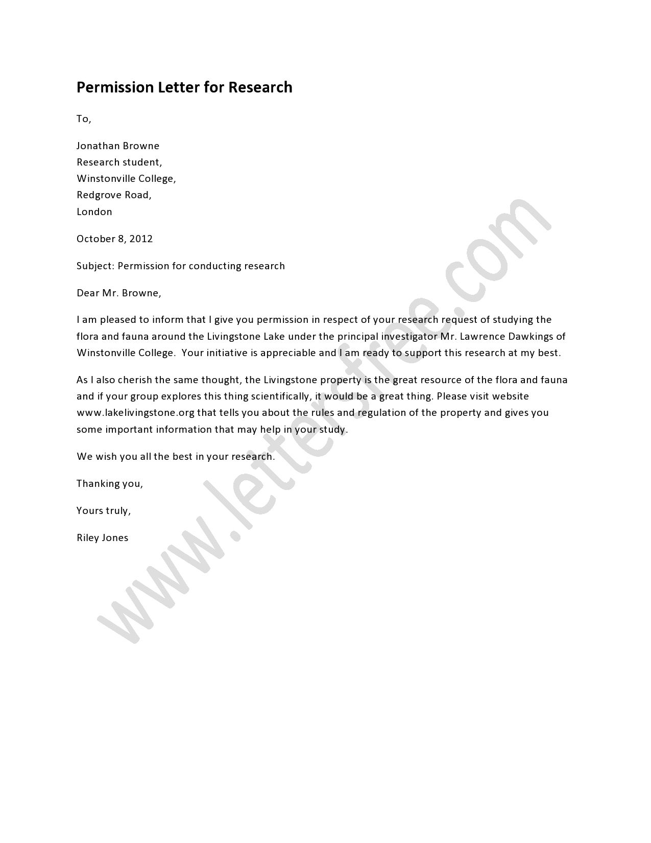 Permission Letter for Research Lettering, Free lettering