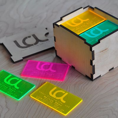 Laser Engraved Fluorescent Neon Acrylic Business Cards