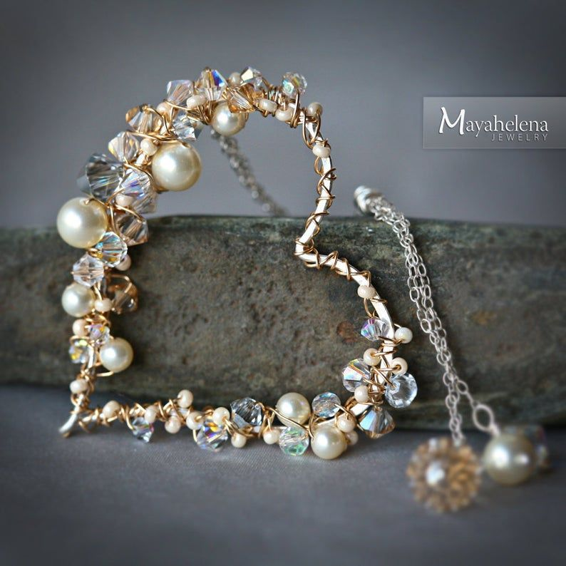 Pearl and Crystal Encrusted Sterling Gold Wire Wra