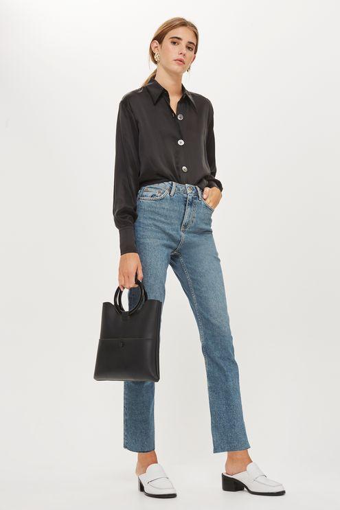 0ffb4cc750f7a MOTO Washed Black Raw Hem Straight Leg Jeans - Straight Leg Jeans - Jeans -  Topshop