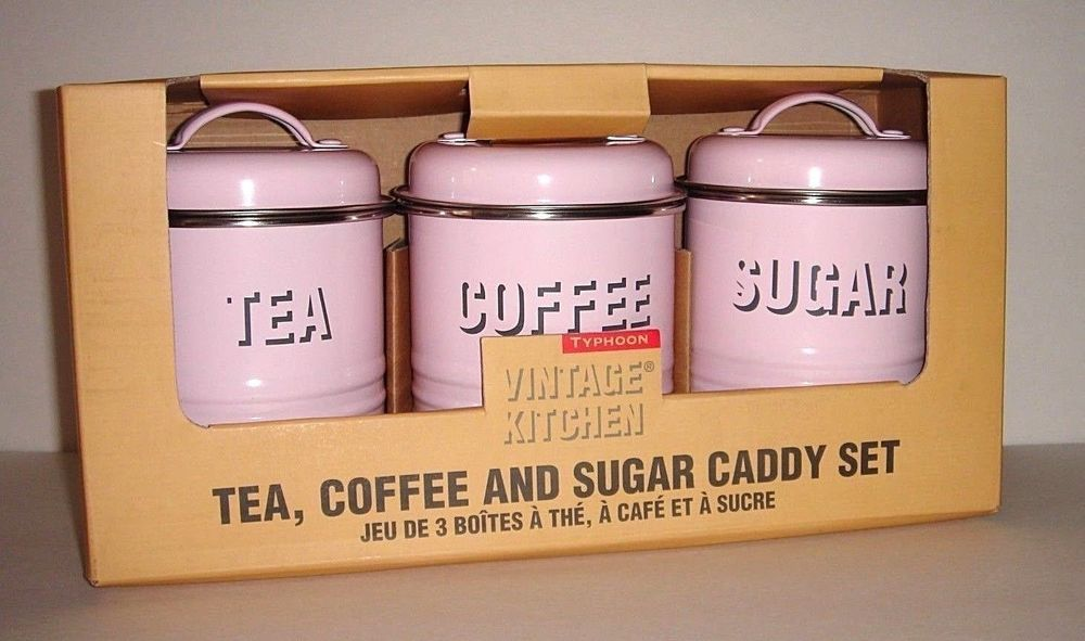 Typhoon Vintage Kitchen PINK Tea Coffee Sugar Storage Canisters Set