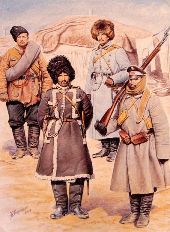 Crimean War Russian uniforms illustration