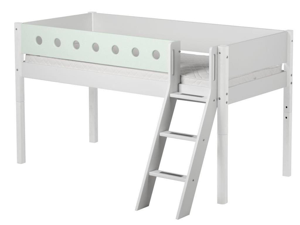 Bemerkenswert Bett Halbhoch Dekoration Von Weiß Mit Schräger Leiter Und Lattenrost, Flexa