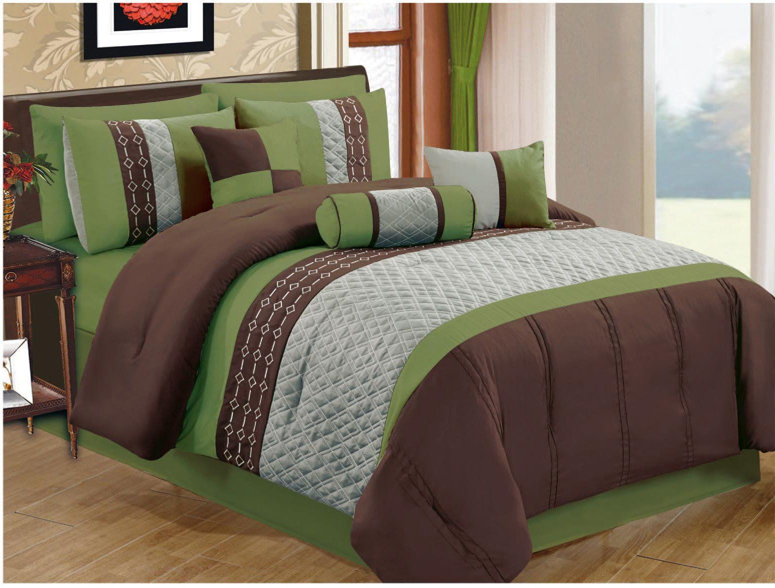 Amazon Com 15 Pc Luxury Coffee Green King Queen Comforter Set